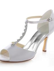 Damen-High Heels / Sandalen-Hochzeit / Kleid / Party & Festivität-Stretch - Satin-Stöckelabsatz-Absätze / Zehenfrei-Weiß