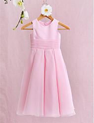 2017, une ligne robe cheville longueur fille fleur - organza / satin sans manches bijou avec un arc (s) / fronces
