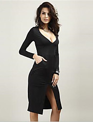 In Colour Women's V Neck Long Sleeve Knee-length Dress-44737099830