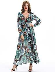 Women's Going out Boho A Line / Chiffon Dress,Floral V Neck Maxi Long Sleeve Black Polyester All Seasons