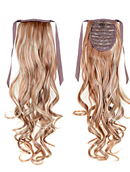 22inch(55cm)  Long Curly Hair #27/613 Mixed Color Synthetic  Clip In Hair Extensions Ribbon Ponytail Tail Hairpieces