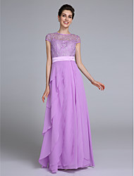 LAN TING BRIDE Sheath / Column Mother of the Bride Dress - See Through Floor-length Short Sleeve Chiffon with Lace