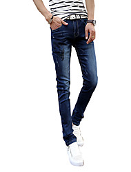 Men's jeans stamp autumn leisure slim pants stretch denim trousers Mens Korean youth tide