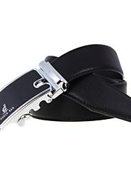 A4009  Men's Cowhide Belt Business Automatic Buckle Belt Black