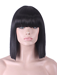 Best-selling Europe And The United States COS Wig Black Neat Bang BOBO Wig 12 Inch