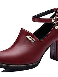 Черный / Бордовый-Женская обувь-Для праздника / Для вечеринки / ужина-Дерматин-На толстом каблуке-На каблуках-Обувь на каблуках