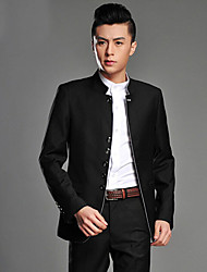 Suits Slim Fit Mandarin Collar Single Breasted More-Button Viscose Solid 2 Pieces Straight Flapped None (Flat Front) Black GrayNone (Flat