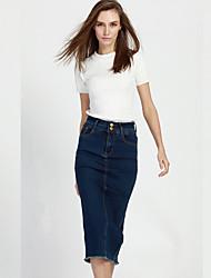 Jupes Aux femmes Midi Sexy / simple Coton Micro-élastique