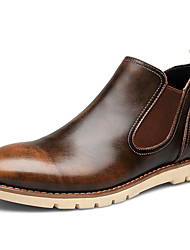 Men's Shoes Nappa Leather Outdoor/Casual Boots Outdoor/Casual Skateboarding Chunky Heel Plaid Black/Brown/Red