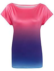 Damen Einfarbig Street Schick Ausgehen T-shirt,Rundhalsausschnitt Sommer Kurzarm Blau / Rosa / Orange Polyester Mittel