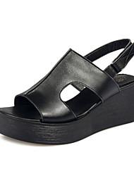 Women's Shoes Leatherette Wedge Heel Wedges / Platform / Open Toe Sandals Dress / Casual Black / White