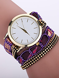 Women's Bohemian Style Fabric Band White Case Analog Quartz Bracelet Fashion Watch