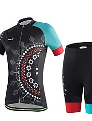 Sports Cycling Jersey with Shorts Women's Short Sleeve Bike Breathable / Sweat-wicking Tops / Bottoms ElastaneSpring / Summer /