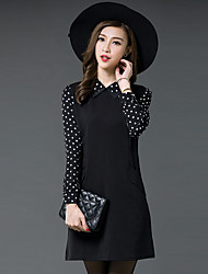 Women's Simple / Street chic Polka Dot Plus Size / Shift Dress,Shirt Collar Mini