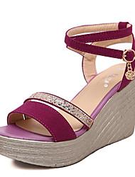 Women's Shoes Glitter Summer Wedges / Open Toe Sandals Dress / Casual Wedge Heel Sparkling Glitter Black / Fuchsia