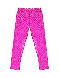 Mermaid Tail Girls Fuchsia/Blue Fish Scale Design Rash Guard Leggings Diving Surfing Swimming Tights Pants for 3~10 yrs