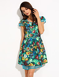 TS Print Slim Cut Swing Dress