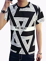Tee-Shirt Pour des hommes A Motifs Décontracté / Grandes Tailles Manches Courtes Rayonne / Spandex Noir / Blanc