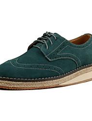 Men's Suede Oxfords Green / Camel-6222