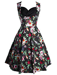 Women's Going out / Casual/Daily Vintage / Street chic A Line Dress,Floral Sweetheart Knee-length Sleeveless
