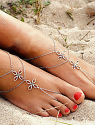 Women Vintage Chinese Knot Multilayer Alloy Anklet 1pc