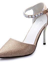 Damen-High Heels-Lässig-PU-Stöckelabsatz-Absätze-Silber / Gold
