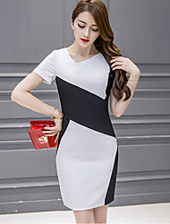 Women's Sexy Color Block Plus Size / Bodycon Dress,Slash Neck Above Knee Polyester