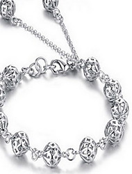 Silver Hollow Ball Bead Strane Bracelet