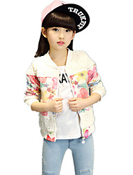 Girl's Fashion Floral Lace Pierced Stitching /Patchwork Long Sleeve Coat/Blazer