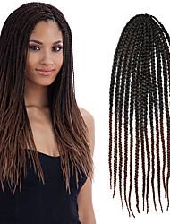 "Black Ombre Dark Brown Senegal Crochet Twist Large Box Braid 24"" Kanekalon 3 Strands 100g Hair Braids Free Crochet Hook"