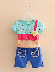 Baby Spell Color Suit New Korean Girls Children'S Clothing Children'S Short Sleeve T-Shirt Pants
