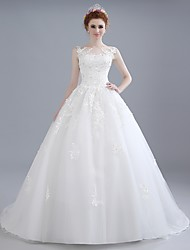 Ball Gown Wedding Dress Sweep / Brush Train Scoop Lace / Satin / Tulle with Beading / Lace