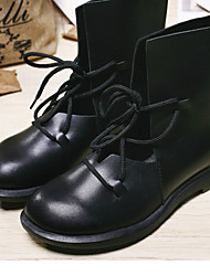 Boots Fall Winter Leather Casual Low Heel Others Black