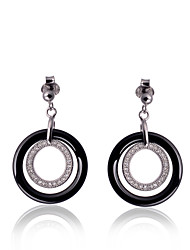 The New Nano Ceramic Earrings S925 Sterling Silver Earrings, Black and White Rub Silver Cloth Packing Box