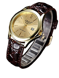 Couple's Fashion Watch Casual Watch Quartz PU Band Brown Strap Watch