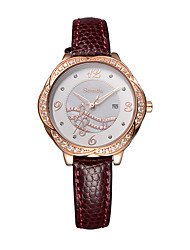 Semdu® Fashion Vintage Music Design Dial Leather Rhinestone Women Wristwatch Noctilucent Calendar Watch