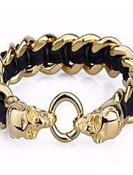 kalen®hip estilo hop de aço inoxidável de jóias 18k crânio de ouro charme e couro pulseiras para homens