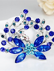Fall New Fashion Female Exquisite Blue Plant Rhinestone Brooches for Wedding