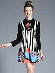 AOFULI Plus Size Womens Autumn Elegant Embroidered Patchwork Stripe Long Sleeve A-Line Dress