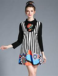 aofuli mais tamanho mulher Outono elegante stripe patchwork luva longa bordada uma linha de vestido