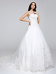 LAN TING BRIDE A-line Wedding Dress Floral Lace Chapel Train Bateau Tulle with Appliques