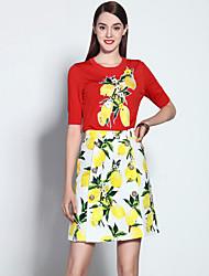 мэри янь& ю женские, выходящие сложный летний набор, цветочные вокруг шеи короткий рукав красный хлопок / спандекс среда