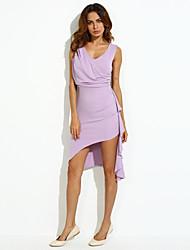 Robe Aux femmes Moulante Sexy,Couleur Pleine Col en V Asymétrique Coton / Polyester