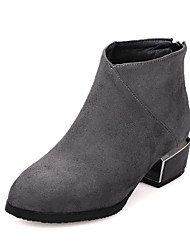 Women's Shoes Fall / Winter Fashion Boots Boots Dress / Casual Chunky Heel Zipper Black / Red / Gray Walking