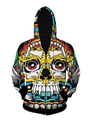 3D  Hoodie Long Sleeve Colourful Skull Printing Clothing