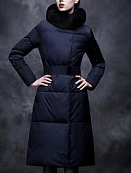 Abrigo Largo De las mujeres-Simple-Poliéster-Manga Larga