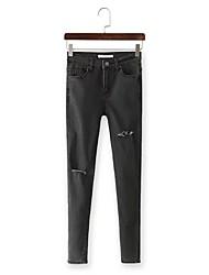 Women's Solid / Print Black Jeans Pants,Simple