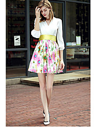Women's Going out Cute Swing Dress,Print V Neck Knee-length Long Sleeve White Polyester Fall