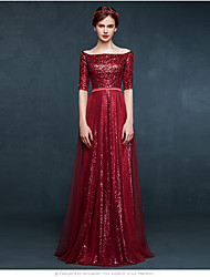 A-Line Bateau Neck Floor Length Tulle Sequined Prom Formal Evening Dress with Sequins