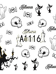 1pcs Nail Art Halloween Sticker Skull Lovely Animal Spiderweb DIY Nail Art Decoration A1116-1120